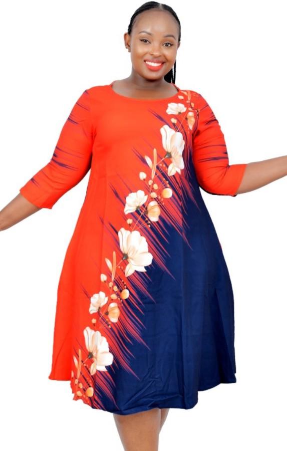 Herbst Übergröße Reife Frauen A-Linie Floral Corporate Kleid