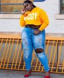 Herbst Plus Size Damen Print Gelb Kurzes Hoodie Top