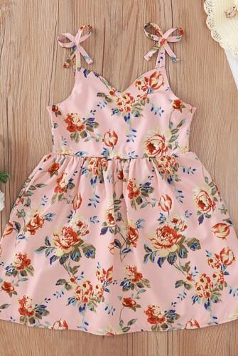 Kids Girl Summer Floral Pink Strap Skater Dress
