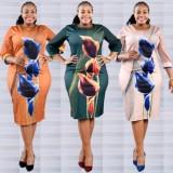 Herbst Übergröße Reife Frauen Floral Midi Corporate Kleid