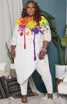 Güz Büyük Beden Bayan Boyaları Düzensiz Gömlek ve Pantolon Takım