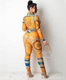Set aus orangefarbener Retro-Bluse und Hose mit Herbst-Print