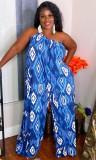 Sommer Frauen Print One Shoulder Loose Jumpsuit