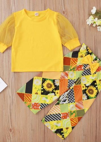 Kids Girl Fall Print Yellow Two Piece Pants Set