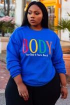 Herbst Plus Size Damen Print Blau Regular O-Neck Sweatshirt