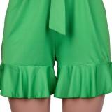 Sommer Frauen Grün V-Ausschnitt Rüschen Sexy Strampler