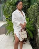 Herbst Frauen Casual weißes langes Blusenkleid