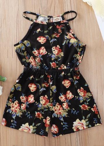 Kids Girl Summer Floral Black Halter Rompers