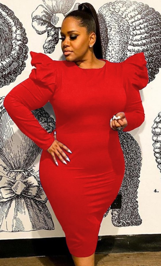 Herbst Frauen Rot Rüschen Langarm Midi Bodycon Kleid