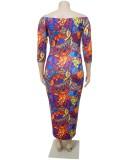 Herbst Plus Size Print Schulterfrei Sexy Midi Bodycon Kleid