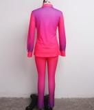 Herbst Sexy Bluse mit Farbverlauf und passender Hosenanzug