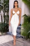 Sommer Sexy weißes geknotetes Träger-Midikleid mit Rüschen