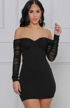 Elegantes schwarzes, trägerloses, langärmliges Mini-Clubkleid mit Rüschen im Herbst