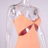 Sommer Sexy Pink Cut Out Schlitz Träger Langes Partykleid