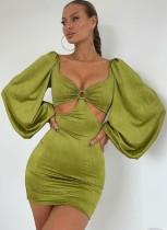 Fall Elegant Green Vintage Puff Sleeve Cut Out Mini Dress