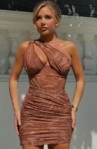 Sommer Sexy Brown Print One Shoulder Rüschen Mini Club Kleid
