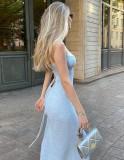 Herbst Elegantes blaues Strick-Trägerkleid mit Seitenschlitzen