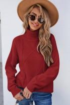 Jersey regular con cuello vuelto rojo de invierno