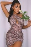 Sommer Sexy Leopard Print One Shoulder Rüschen Mini Club Kleid