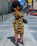 Herbst Plus Size Print Retro Sexy One-Shoulder-Midi-Bodycon-Kleid