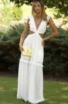 Vestido largo de volantes sin mangas con cuello en V blanco de verano