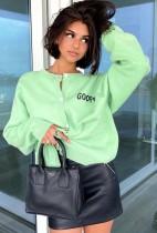 Giacca in maglia verde con stampa autunnale da donna