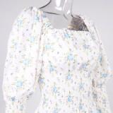 Herbst Vintage Puffärmel Romantisches Blumen Quadratisches Minikleid