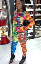 Fall Camou Print Color Block Fitted Shirt and Pants Set