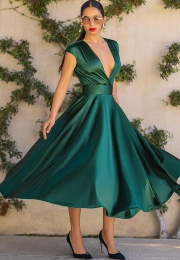 Herbst formales grünes sexy Abendkleid mit tiefem V