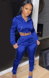 Herbstblauer Hoodie mit Crop-Top und Hosen-Trainingsanzug