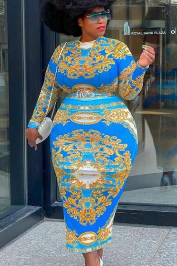 Herbst Plus Size Print Retro Sexy Midi Bodycon Kleid