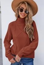 Jersey regular con cuello vuelto marrón de invierno