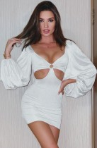 Fall Elegant White Vintage Puff Sleeve Cut Out Mini Dress