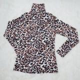 Herbst Elegantes Rollkragen Leopard Langarm Basic Top