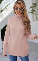 Jersey regular con cuello vuelto rosa de invierno