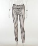 Fall Sexy See Through Zebra Top und Hose Set
