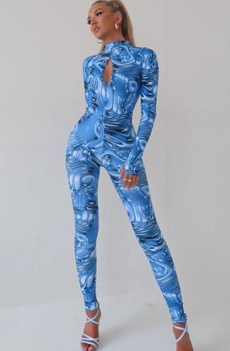 Herfst print sexy keyhole bodycon jumpsuit met lange mouwen