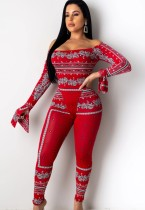 Fall Sexy Print Red Off Shoulder Bodysuit and Matching Leggings Set