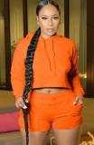 Herbst Orange Kapuzenoberteil und Shorts Trainingsanzug