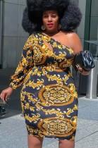 Fall Plus Size Print Retro Sexy One Shoulder Midi Bodycon Dress
