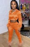 Herbst Orange Hoodie Crop Top und Hosen Trainingsanzug