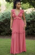 Vestido largo de volantes sin mangas con cuello en V rosa de verano