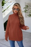 Winter Brown Turndown Kragen Regular Pullover Pullover