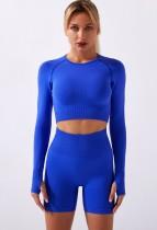 Fall Blue Sports Crop Top and High Waist Shorts Yoga Set