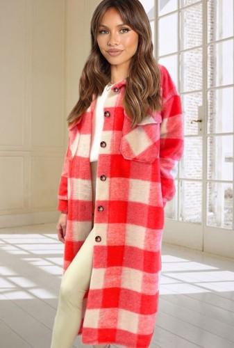 Herfst casual lange blouse met geruite print
