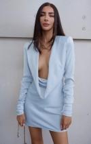 Herbst Blau Sexy Tropfenkragen Langarm Minikleid