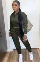 Otoño casual verde crop top y pantalones de chándal