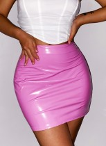 Fall Rose Leder Minirock mit hoher Taille