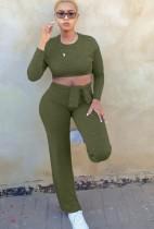 Conjunto de pantalón y top corto entallado verde casual de otoño