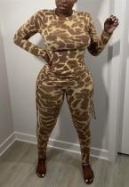 Conjunto de camisa y pantalón con estampado de leopardo de otoño